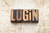 login word in wood type