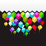 Flying colored 3d cubes abstract, vector eps10 illustration.