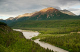 The Matanuska River cuts Through Woods at Chugach Mountains Base