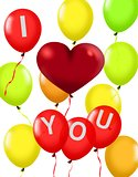 Balloons with a red love shape symbol