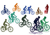 Cyclists and bicycles