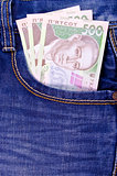 Ukrainian money in jeans pocket