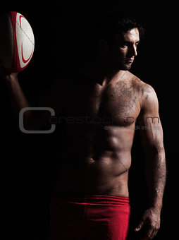 sexy topless rugby man portrait
