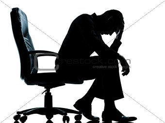 one business man  tired sad despair  silhouette