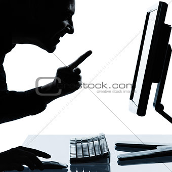 one business man silhouette computing computer happy success
