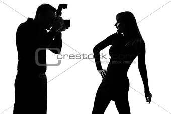 one couple man photographer and woman fashion model