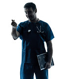 doctor man silhouette portrait gesturing money
