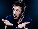 Funny Man Portrait hesitant puckering
