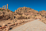 roman avenue in nabatean city of  petra jordan