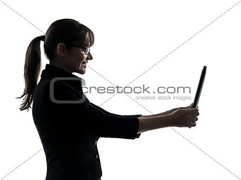 business woman computer computing  digital tablet silhouette