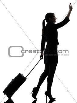 business woman  traveling walking   hailing silhouette