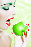 Woman portrait eat an apple