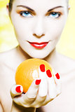 Woman Portrait offer an orange smiling
