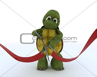 tortoise cutting a red ribbon
