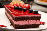 chocolate strawberry cake with jelly strawberry