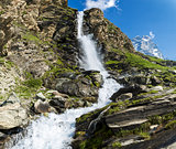 Waterfall and Mount Cervino, Valtournenche