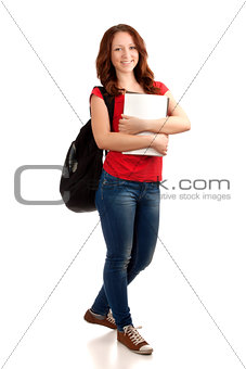 Portrait of female student with books