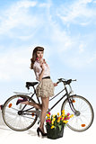 portrait of vintage girl on bicycle
