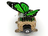 Big green butterfly sits on a pulley gold generator
