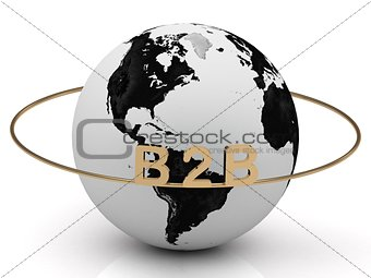 B2B golden letters on a gold ring