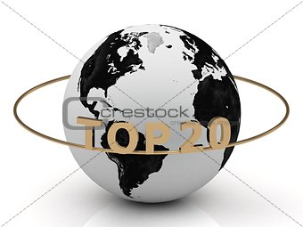 TOP 20 on a gold ring around the earth
