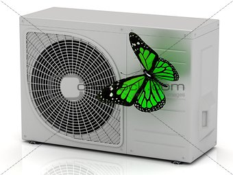 Green butterfly sits on a street conditioner