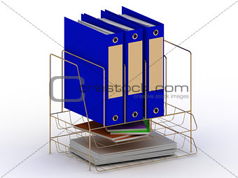 Archive documents of three blue folders on a gold stand