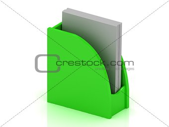 Green plastic holder for business cards