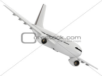 White passenger airliner comes in to land