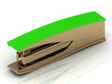 Golden stapler with a green handle