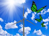 Rotating wind turbine and green butterflies