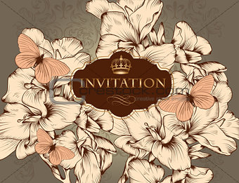 Beautiful vector wedding invitation card in vintage style