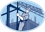 Construction Worker Scaffolding Retro
