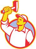Worker Wielding Hammer Retro