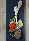 spice saffron and cumin in a vintage spoons