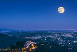 Full moon over the city of Varese, Lombardy - Italy