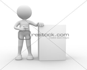 3d people - man, person with blank board