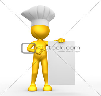 3d people - man, person and blank paper. Chef