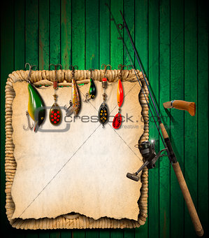 Fishing Tackle Green Wood Background