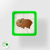 Cheerful hippo Environmental protection
