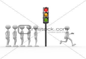 3d man and a semaphore. Go