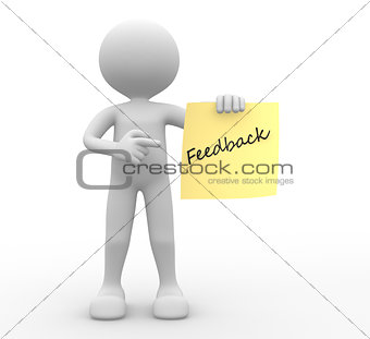 3d people -man, person and yellow paper. Feedback