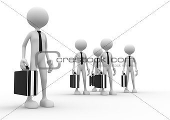 3d man with briefcase. Leadership and team.