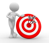 3d man, with a target and arrows