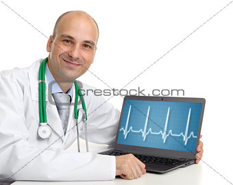 doctor and a laptop with electrocardiogram on the screen