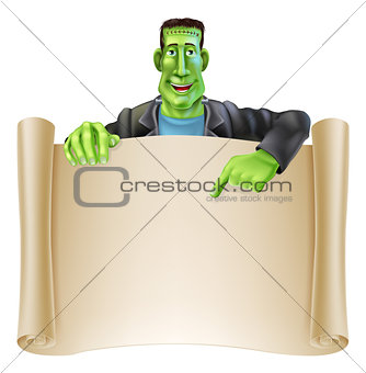 Frankenstein Halloween Sign Scroll
