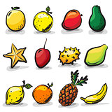 Exotic fruits sketch drawing vector set