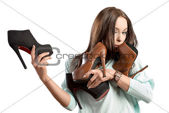 fashion woman adoring her shoes