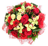Floral compositions of red roses, red gerberas and orchids. Flor