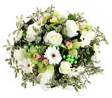 Floral compositions of white roses, white gerberas and orchids.